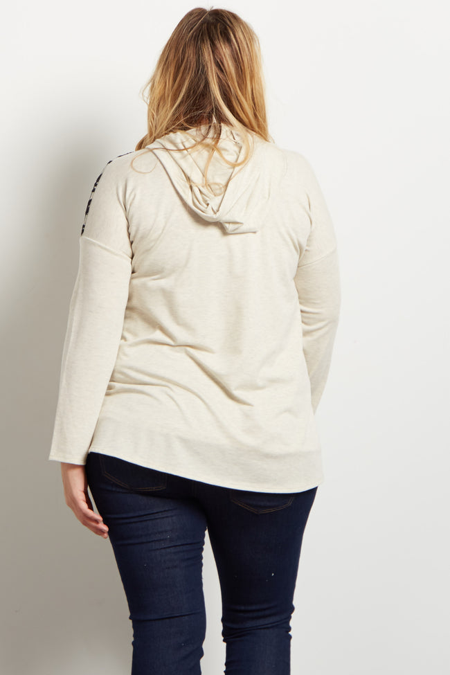 Beige Lace Accent Hooded Knit Plus Maternity Top