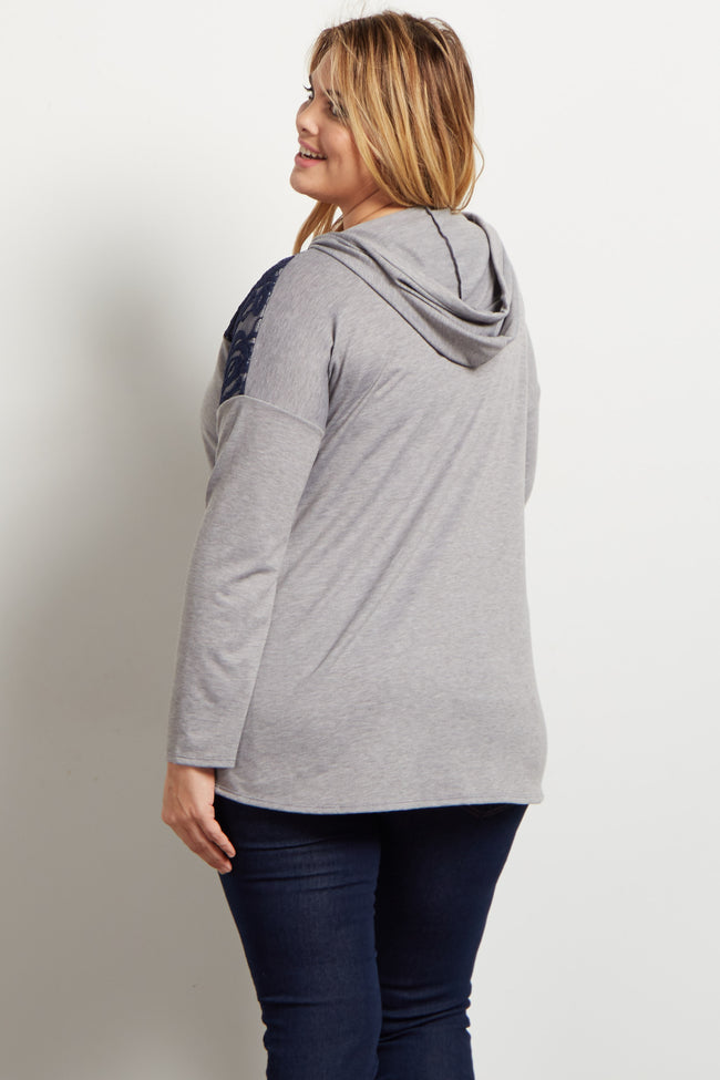 Grey Lace Accent Hooded Knit Plus Maternity Top