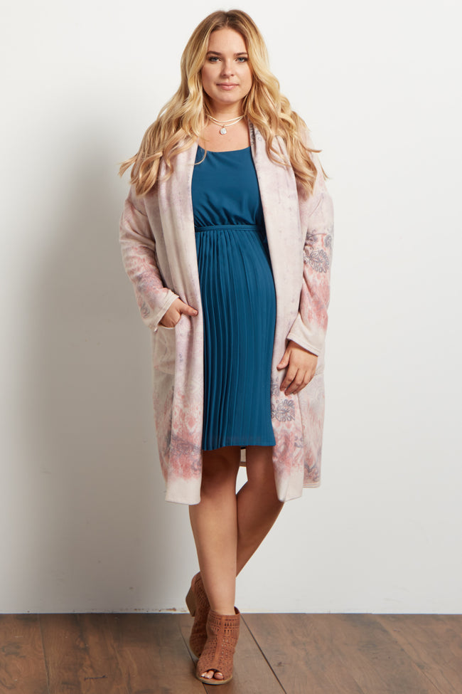 Lavender Printed Soft Knit Long Plus Maternity Cardigan
