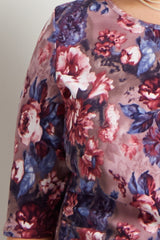 Mauve Floral Fitted Plus Maternity Dress