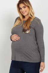 Charcoal Sequin Pocket Plus Maternity Top