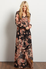 Charcoal Floral Chiffon Wrap Maxi Dress