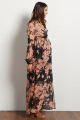 Charcoal Floral Chiffon Wrap Maternity Maxi Dress