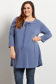 Blue Lace Up Plus Maternity Tunic