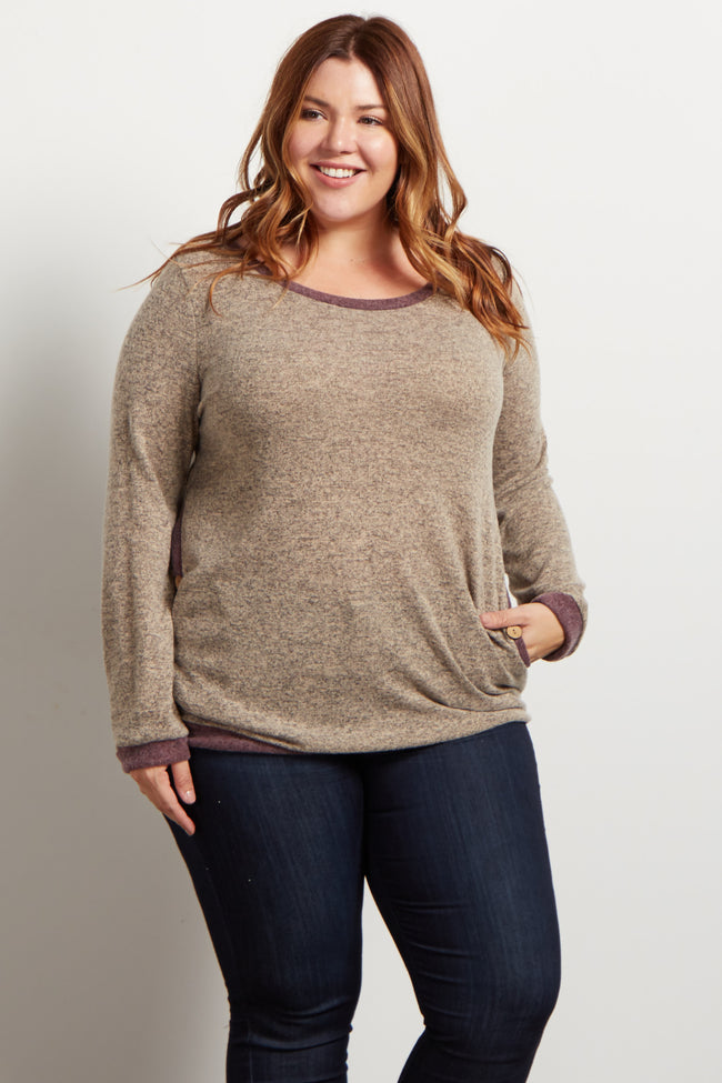 Taupe Colorblock Button Accent Plus Sweater