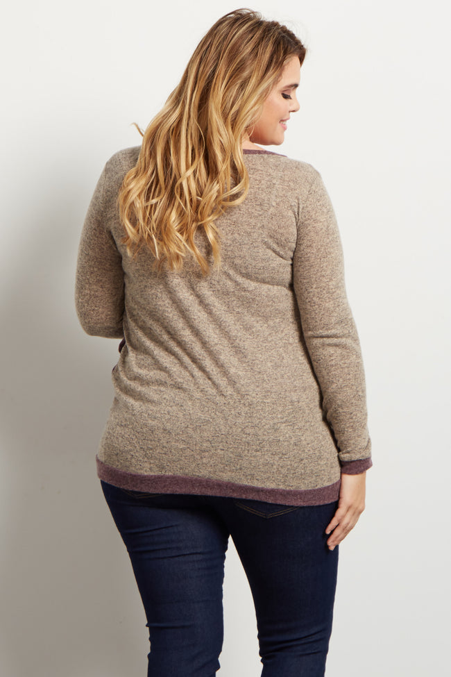 Taupe Colorblock Button Accent Plus Maternity Sweater