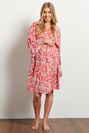 Red Floral Damask Delivery/Nursing Maternity Robe