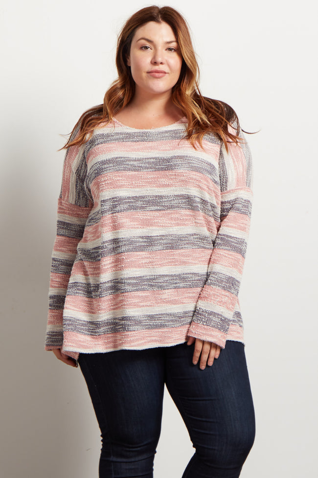 Pink Alternating Striped Textured Knit Plus Top
