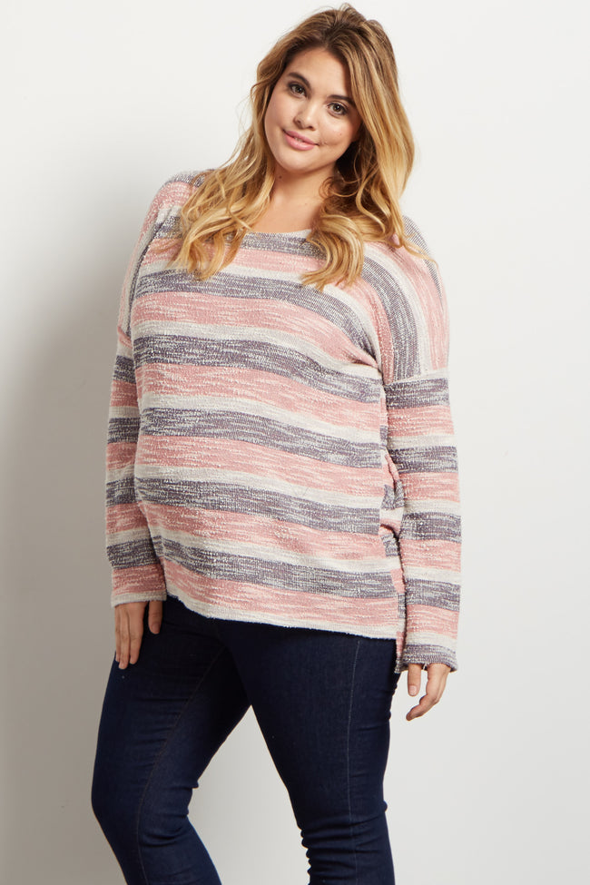 Pink Alternating Striped Textured Knit Plus Maternity Top