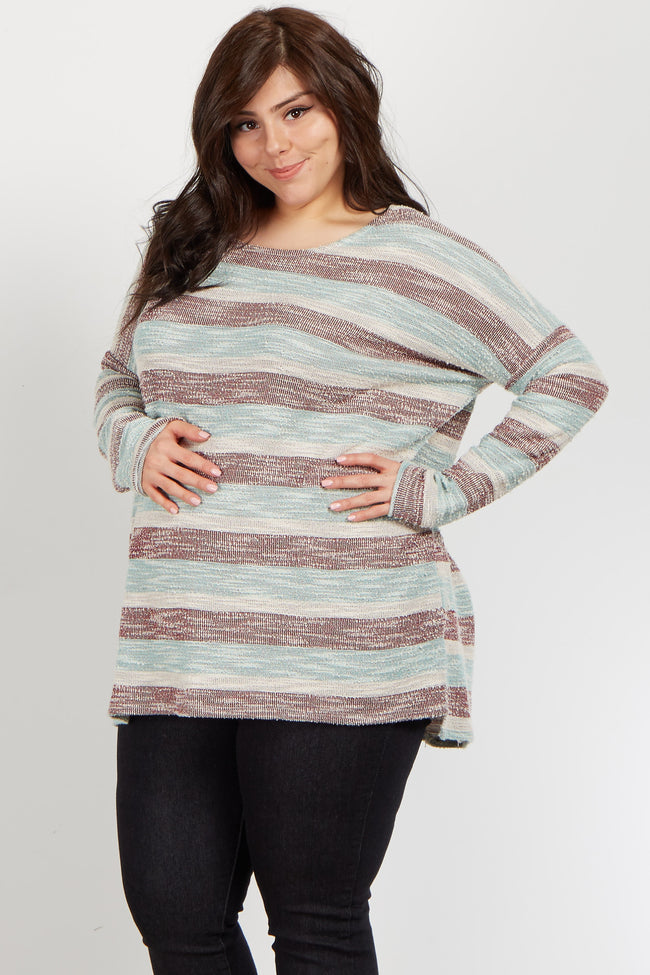 Mint Alternating Striped Knit Plus Maternity Top