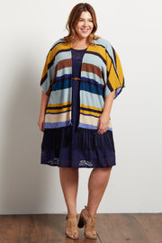 Teal Yellow Striped Fringe Trim Knit Plus Kimono