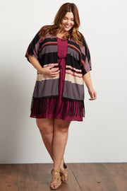 Multi-Color Striped Fringe Trim Knit Plus Kimono