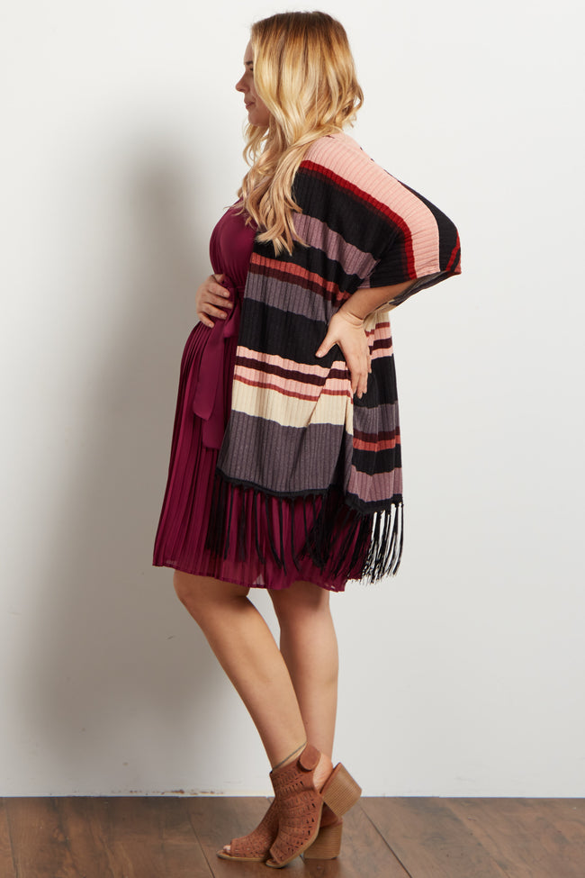 Multi-Color Striped Fringe Trim Knit Plus Maternity Kimono