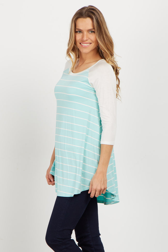 Mint Striped Colorblock Maternity Top
