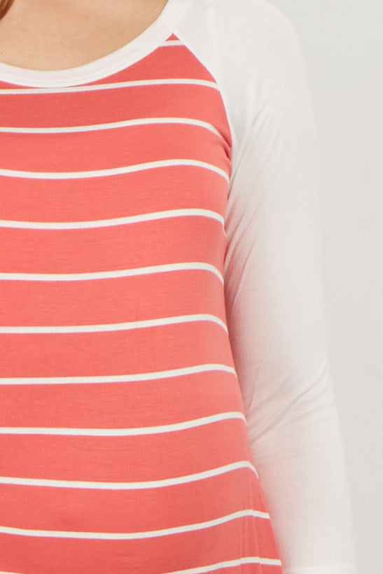 Coral Striped Colorblock Maternity Top
