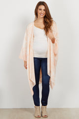 Light Pink Damask Oversized Maternity Kimono