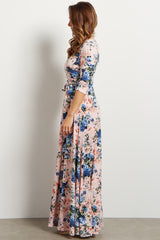 Light Pink Floral Maxi Wrap Dress