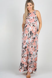 Pink Floral Sleeveless Maternity Maxi Dress