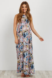 Lavender Floral Sleeveless Maternity Maxi Dress