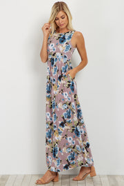 Lavender Floral Sleeveless Maxi Dress