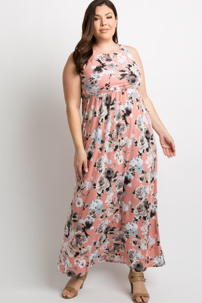 Pink Floral Sleeveless Plus Maternity Maxi Dress