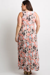 Pink Floral Sleeveless Plus Maxi Dress