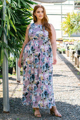 Lavender Floral Sleeveless Plus Maxi Dress