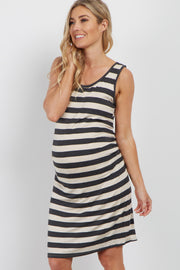 Charcoal Striped Sleeveless Fitted Maternity Dress