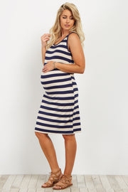 Navy Striped Sleeveless Fitted Maternity Dress