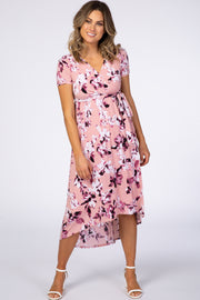 Light Pink Floral Hi-Low Wrap Dress