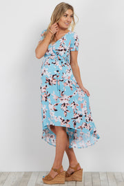 Aqua Floral Hi-Low Maternity/Nursing Wrap Dress
