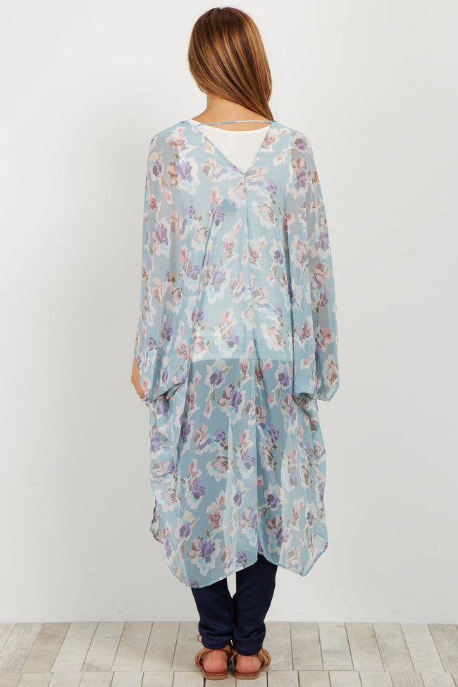 Mint Floral Chiffon Maternity Cover Up