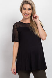 Black Mesh Accent Maternity Top