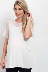 Ivory Mesh Accent Maternity Top
