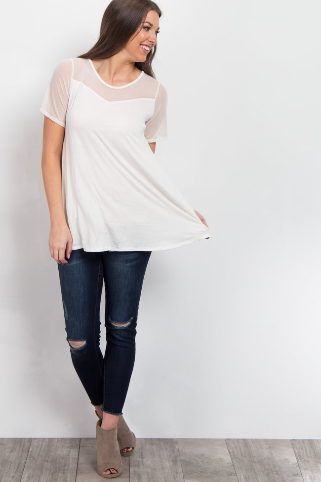 Ivory Mesh Accent Top