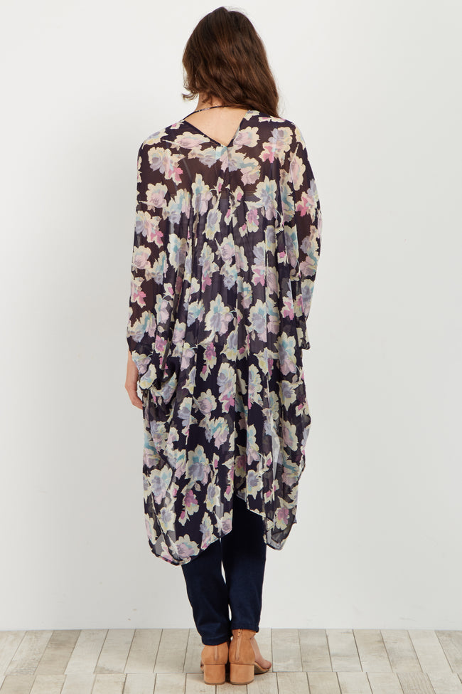 Navy Floral Chiffon Maternity Cover Up