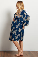 Navy Antique Floral Plus Delivery/Nursing Maternity Robe