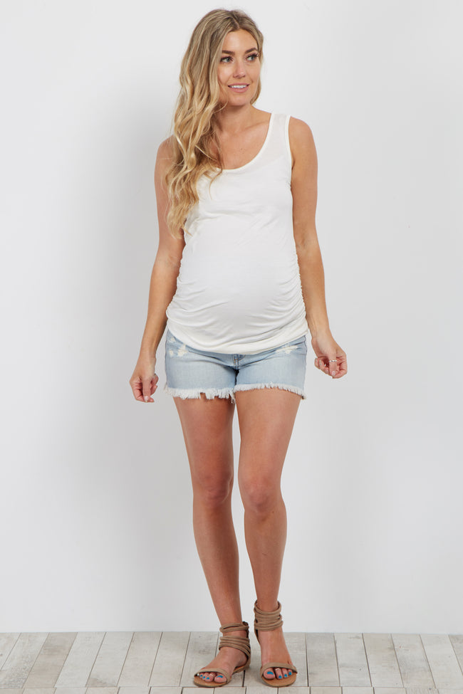 Light Blue Distressed Maternity Shorts