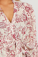Ivory Magenta Floral Delivery/Nursing Maternity Robe