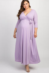 PinkBlush Lavender Draped 3/4 Sleeve Plus Maxi Dress
