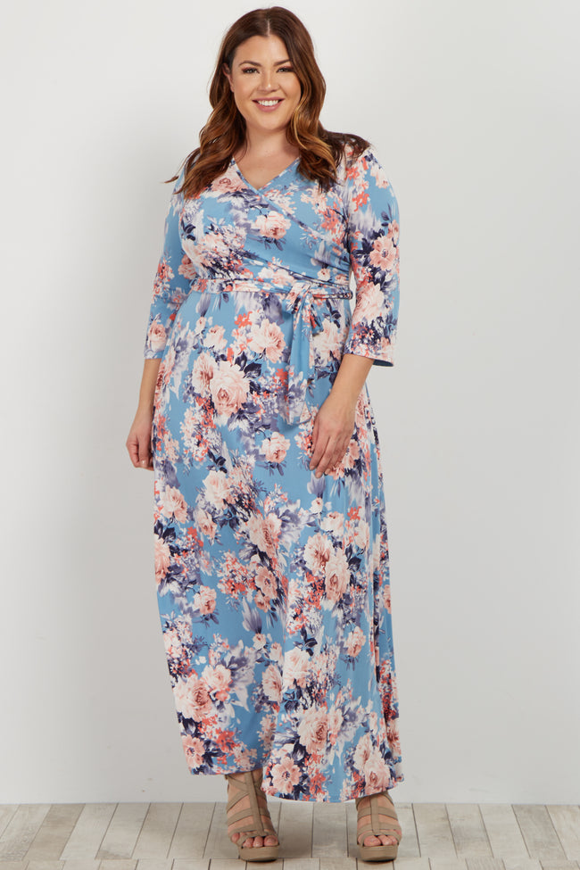 Aqua Floral Sash Tie Plus Maternity Maxi Dress