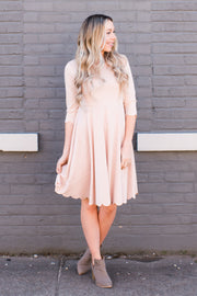 Pink Scalloped Hem Dress
