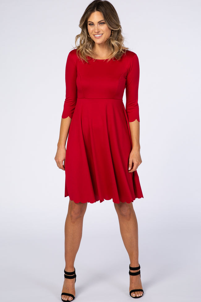 Red Solid Scalloped Hem Maternity Dress