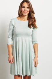 Dusty Mint Solid Scalloped Hem Dress