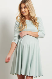 Dusty Mint Solid Scalloped Hem Maternity Dress