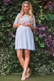 Light Blue Solid Scalloped Hem Maternity Dress