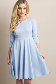 Light Blue Solid Scalloped Hem Dress