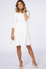 PinkBlush Ivory Solid Scalloped Hem Maternity Dress