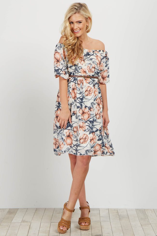 Ivory Floral Off Shoulder Belted Dress
