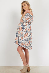 Ivory Floral Off Shoulder Belted Maternity Dress